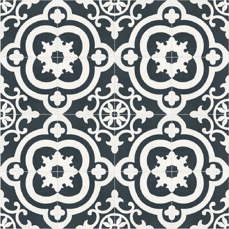 Della Torre Cementina Black And White Ceramic Floor Wall Tile Common 8