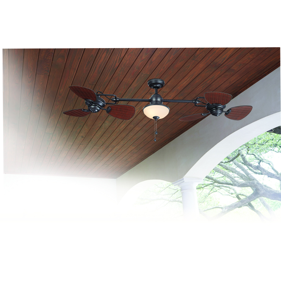 Harbor Breeze Twin Breeze Ii Oil Rubbed Bronze 74 In Indoor Outdoor Ceiling Fan 6 Blade In The Ceiling Fans Department At Lowes Com