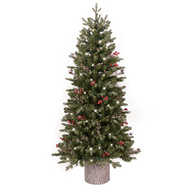 GE 4.5-ft Pre-Lit Frasier Fir Slim Flocked Artificial Christmas Tree with White Clear Incandescent Lights 01526LO