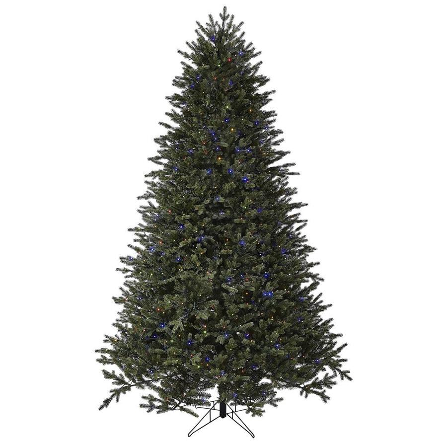 GE 12.12 ft Aspen Fir Pre Lit Traditional Artificial Christmas Tree with 12  Multi Function Color Changing LED Lights