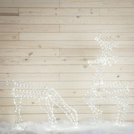 GE 2.1-Ft Freestanding Buck And Doe Reindeer With Constan...