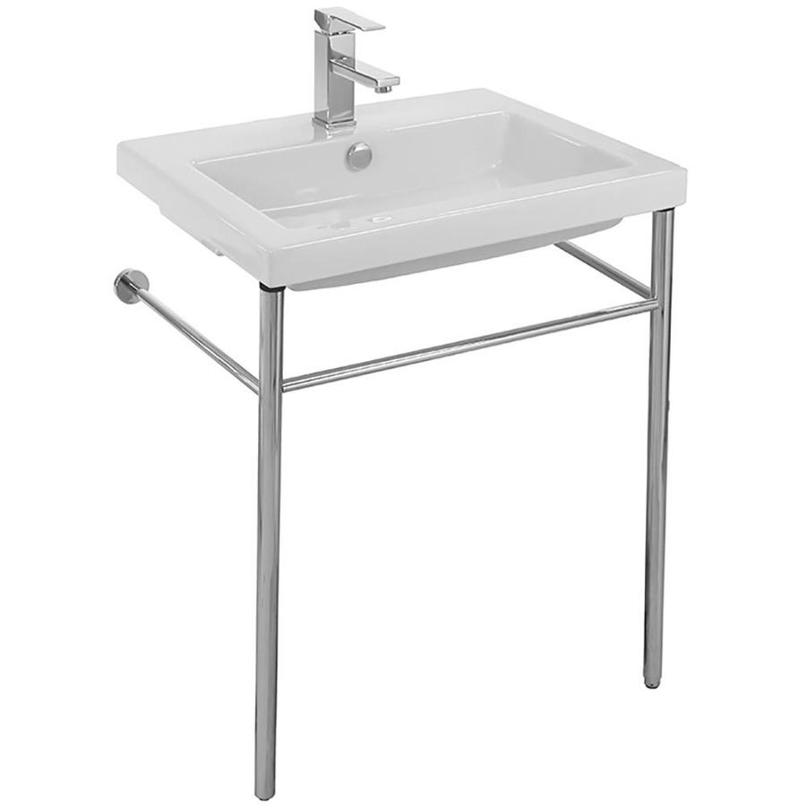 Nameeks Nameeks Cangas Ceramic Console Bathroom Sink in White | TEC CAN01011-CON-1H