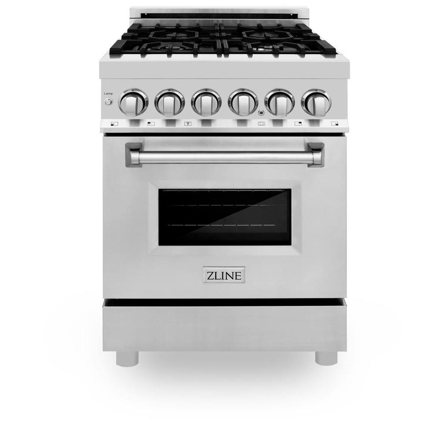 Zline Kitchen Bath Dual Fuel Range 24 In Deep Recessed 4 Burners Convection Oven Freestanding Dual Fuel Range Stainless Steel In The Single Oven Dual Fuel Ranges Department At Lowes Com