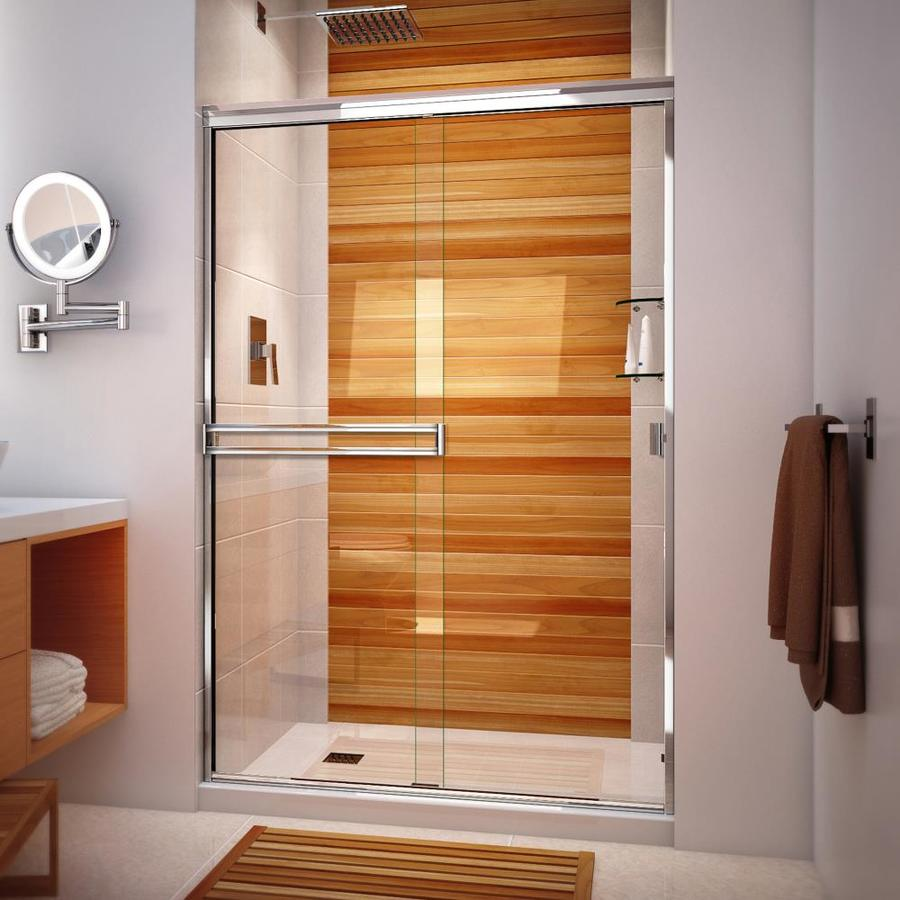 Arizona Shower Door Traditional 70.375-In H X 46-In To 48-In W Semi-Frameless Bypass/Sliding Polished Chrome Shower Door