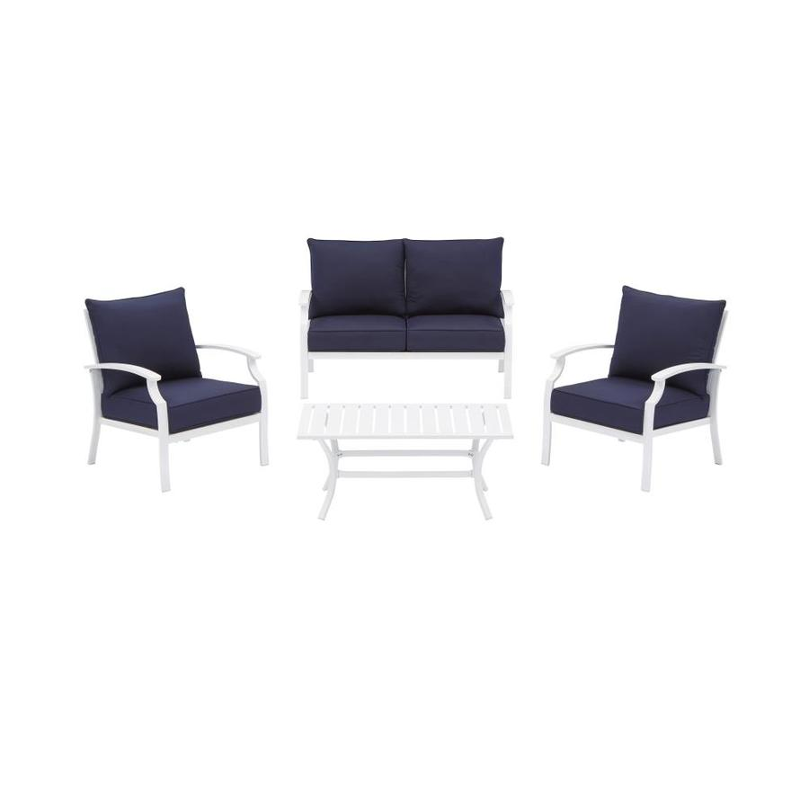 allen + roth Seavale 4-Piece Metal Frame Patio Conversation Set with Cushions | SV4C5CANNAV