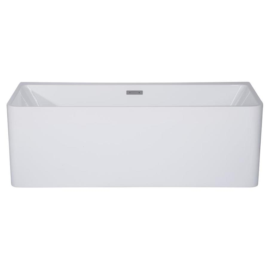 Alfi Brand 28 38 In W X 59 In L White Acrylic Rectangular Center Drain Freestanding Soaking In The Bathtubs Department At Lowes Com