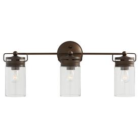 Shop Allen Roth 3 Light Vallymede Aged Bronze Bathroom