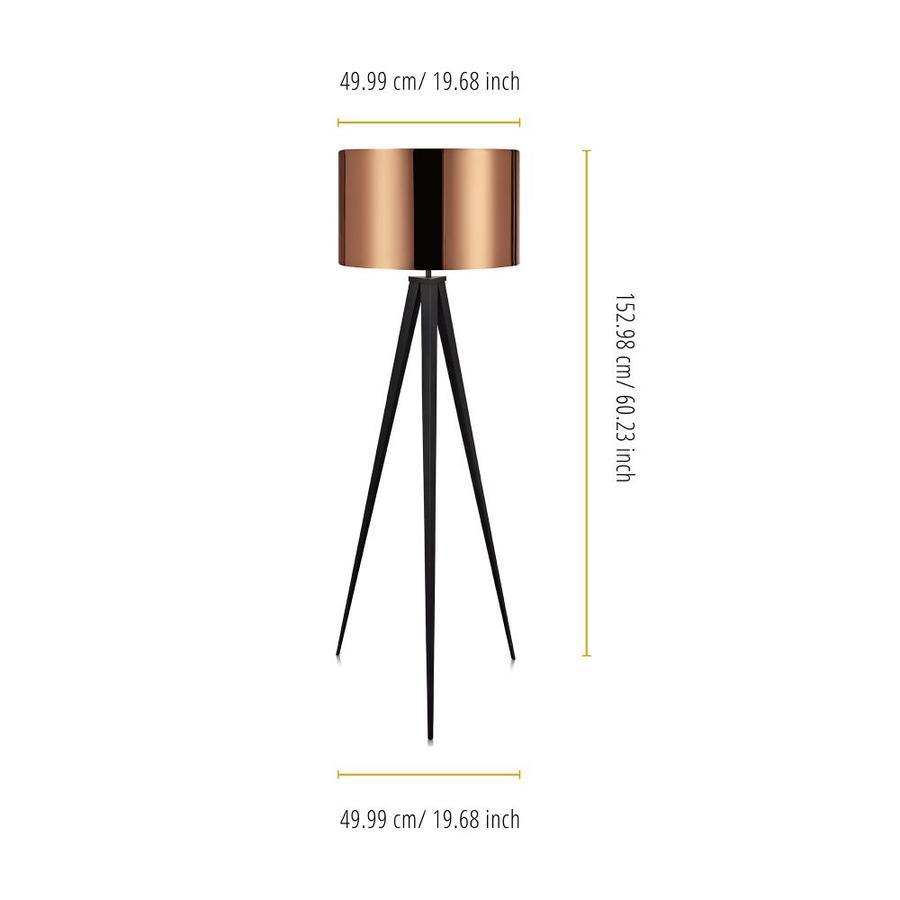 Versanora Roman 60 23 In Copper Black Tripod Floor Lamp In The Floor Lamps Department At Lowes Com