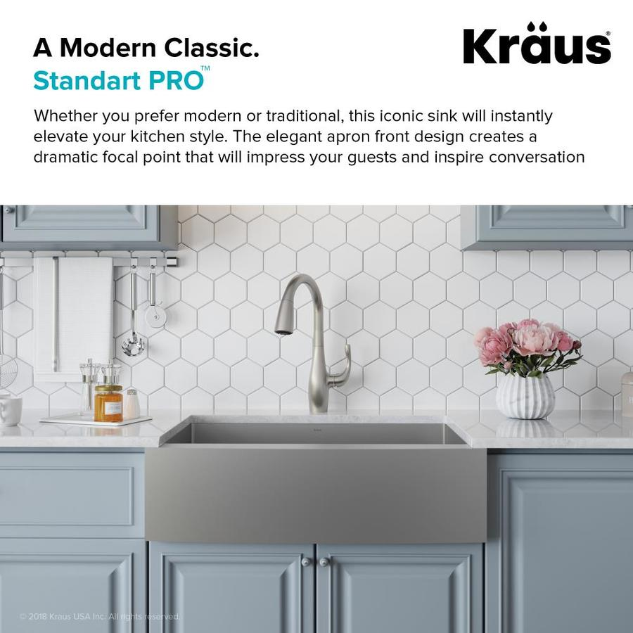 Kraus Standart Pro Farmhouse Apron Front 36 In X 21 In Stainless Steel Single Bowl Kitchen Sink In The Kitchen Sinks Department At Lowes Com