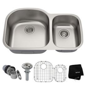 Kraus Premier Kitchen Sink 32.38-in x 20.5-in Stainless steel Double-Basin Undermount Residential Kitchen Sink KBU23