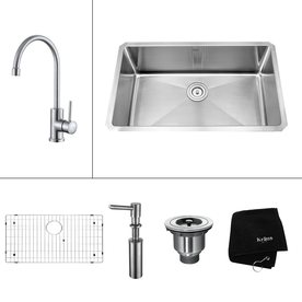 Kraus Kitchen Combo 18-In X 30-In Single-Basin Stainless ...