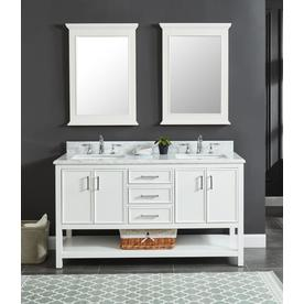 Allen Roth Presnell 61 In Dove White Double Sink Bathroom Vanity With Carrara White Natural Marble Top In The Bathroom Vanities With Tops Department At Lowes Com