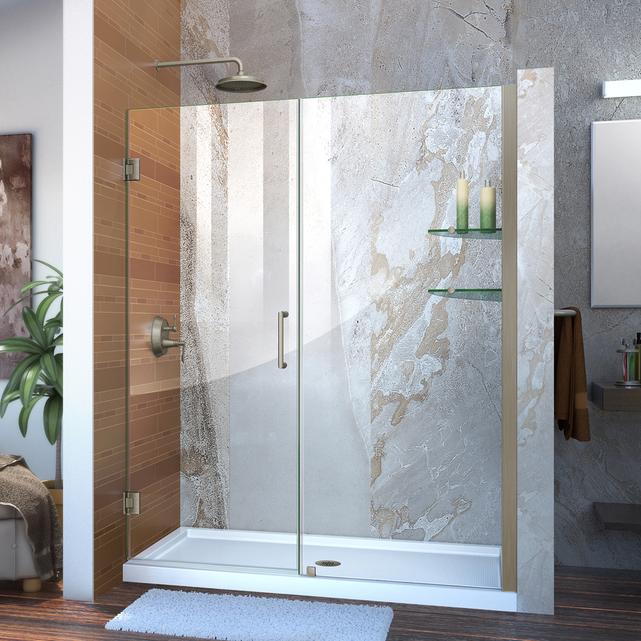 Shop Dreamline 59 In Frameless Hinged Shower Door At Lowes Com
