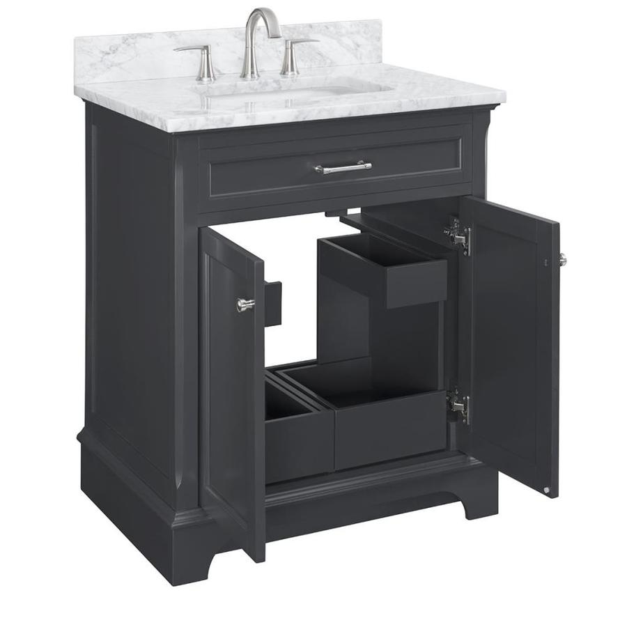 Scott Living Roveland 30 In Dark Gray Single Sink Bathroom Vanity With Natural Carrara Marble Top In The Bathroom Vanities With Tops Department At Lowes Com