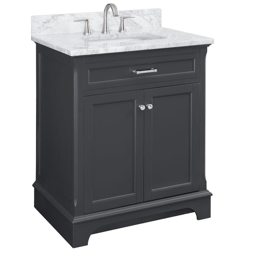 Scott Living Roveland 30 In Dark Gray Undermount Single Sink Bathroom Vanity With Natural Carrara Marble Top In The Bathroom Vanities With Tops Department At Lowes Com