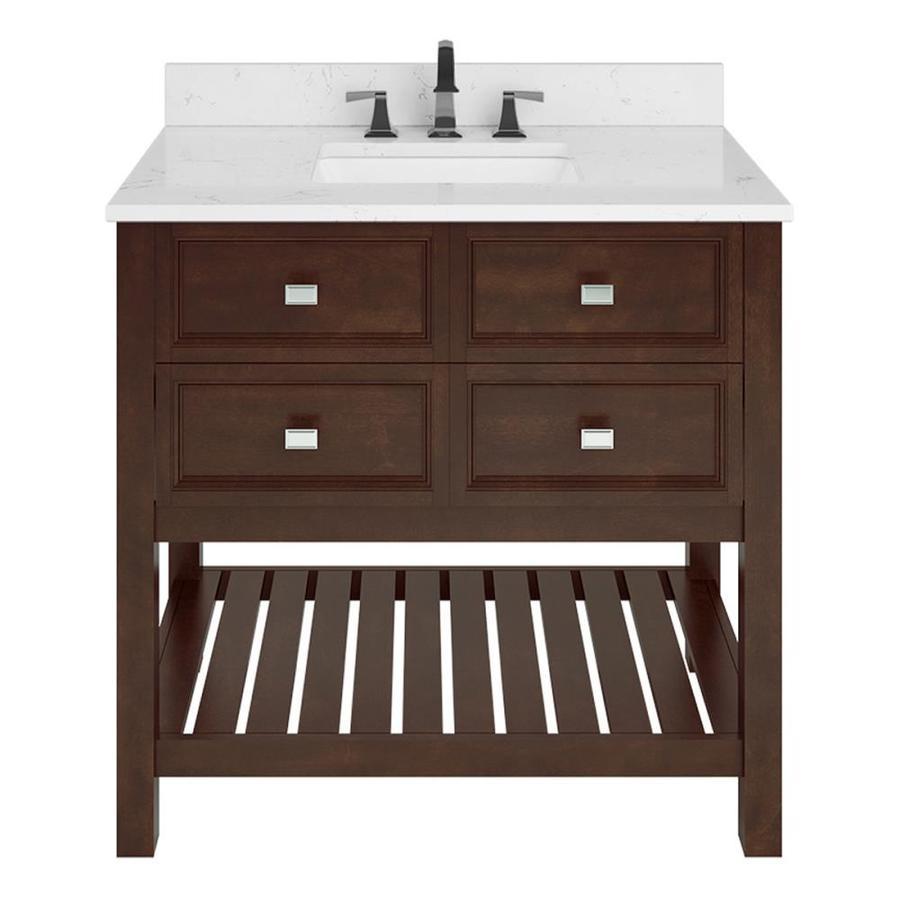 Scott Living Canterbury Mahogany Undermount Single Sink Bathroom Vanity with Engineered Stone Top 36-in x 22-in 1227VA-36-202-903, Brown