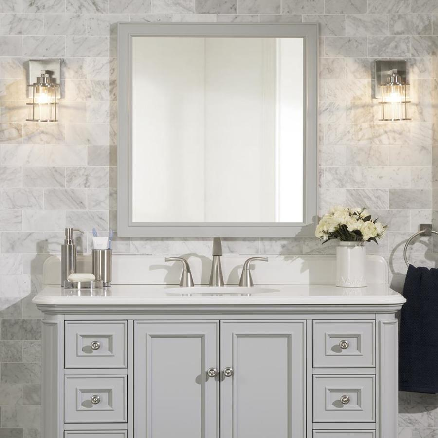 Allen Roth Wrightsville 28 In Light Gray Rectangular Bathroom Mirror In The Bathroom Mirrors Department At Lowes Com