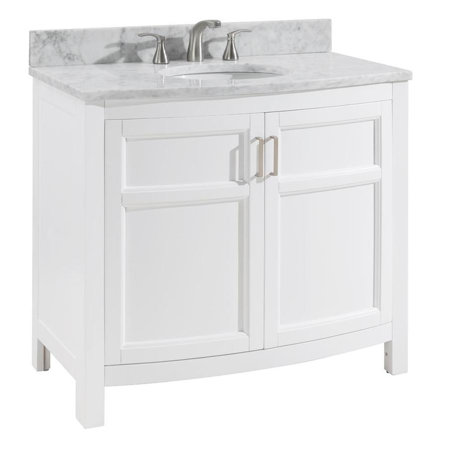 - Allen + Roth Moravia 36-in White Single Sink Bathroom Vanity With