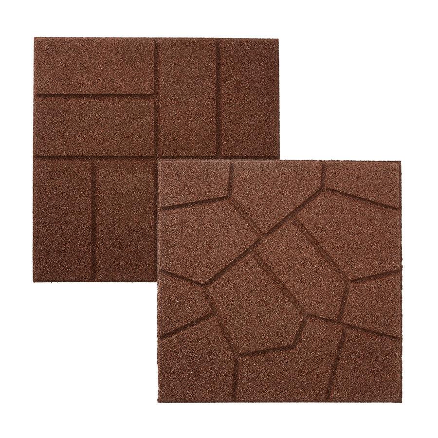 Shop Rubberific Brown Rubber Square Patio Stone (Common ...