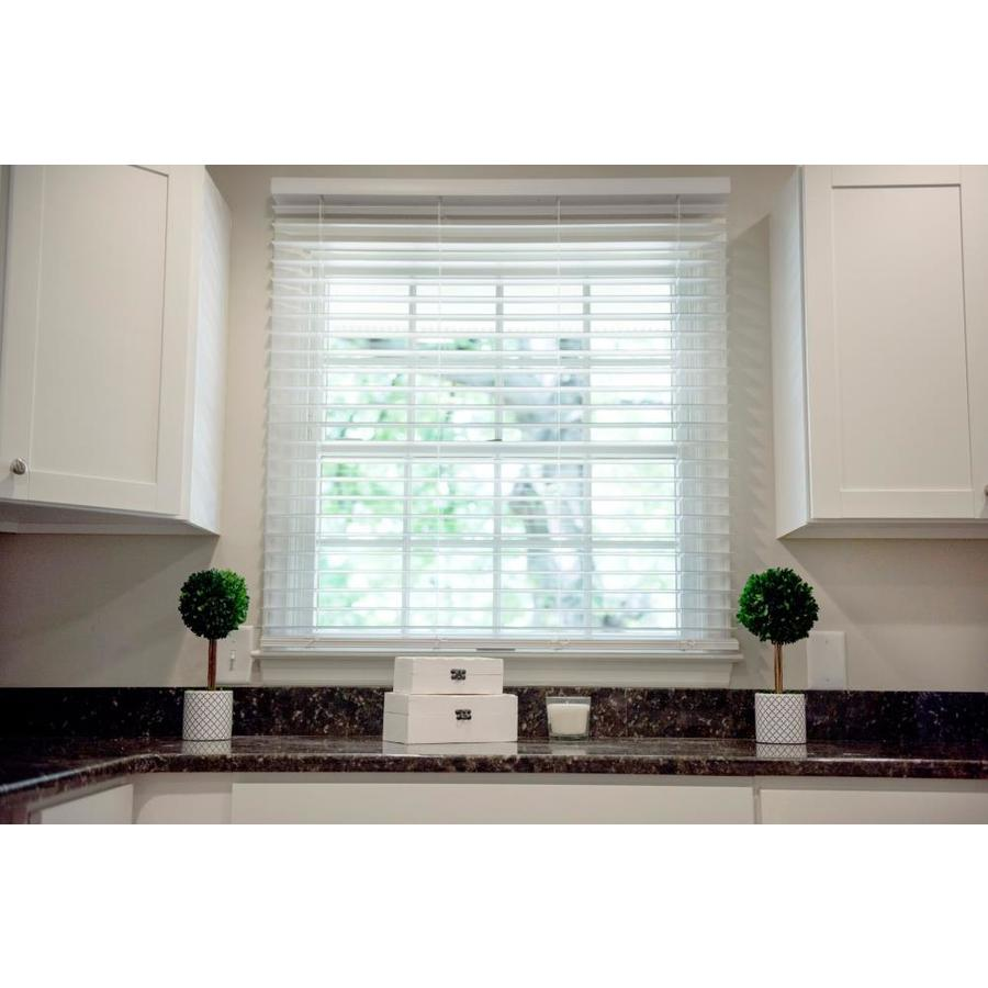 Wave Contour 2-in Cordless Soft White Faux Wood Room Darkening Blinds 29-in WC23036W-D
