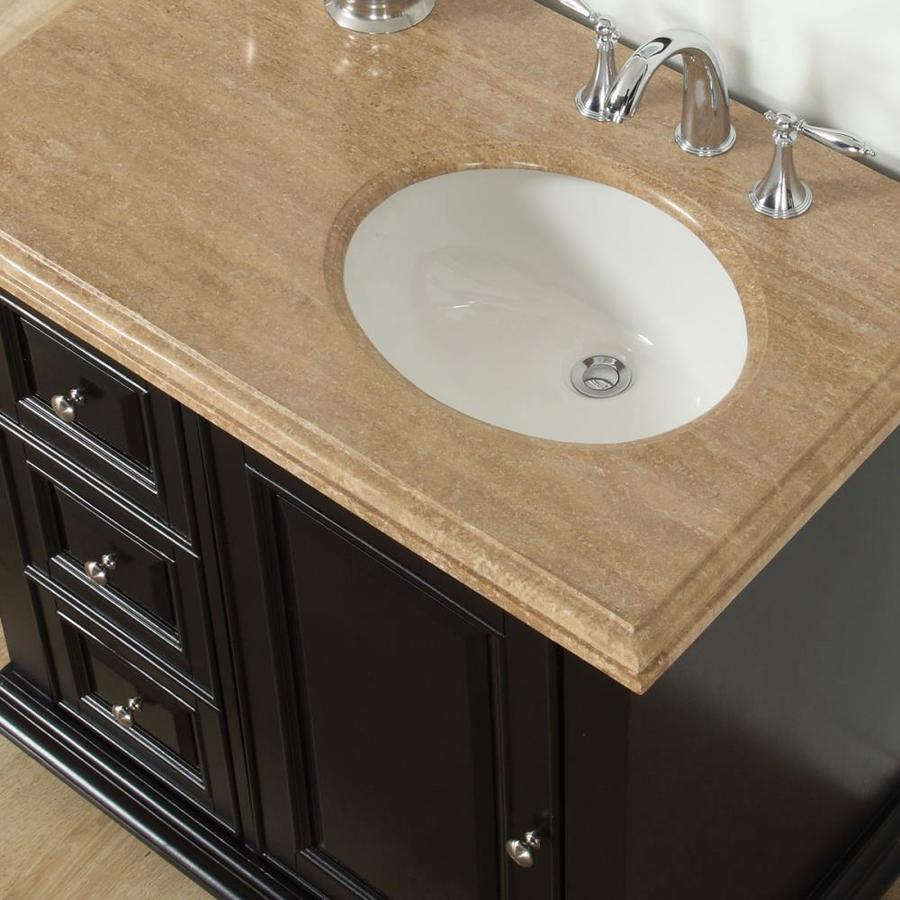 Silkroad Exclusive 56 In Dark Espresso Undermount Single Sink Bathroom Vanity With Travertine Top In The Bathroom Vanities With Tops Department At Lowes Com