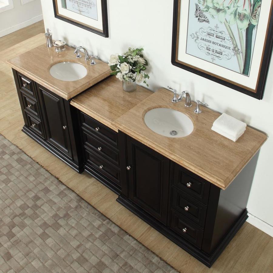 Silkroad Exclusive 90 In Dark Espresso Undermount Double Sink Bathroom Vanity With Travertine Top In The Bathroom Vanities With Tops Department At Lowes Com
