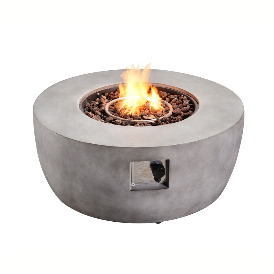 Teamsonteamson Propane Fire Pits 36 In W 50000 Btu Grey Tabletop Ceramic Fire Pit In Gray Hf36501aa Dailymail