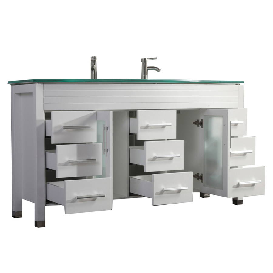 Mtd Vanities 63 In White Double Sink Bathroom Vanity With Green Glass Top Mirror And Faucet Included In The Bathroom Vanities With Tops Department At Lowes Com