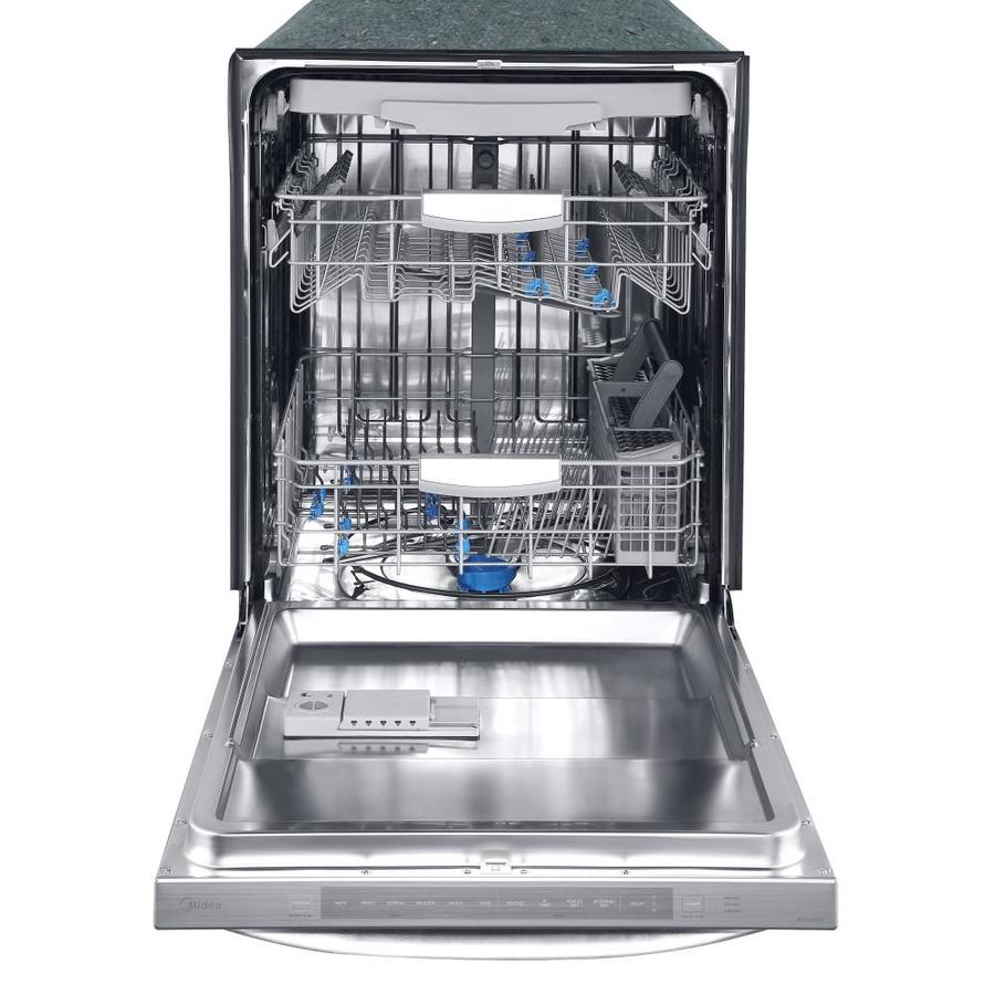 Midea 45 Decibel Top Control 24 In Built In Dishwasher Stainless Steel Energy Star In The Built In Dishwashers Department At Lowes Com