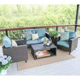 Display Product Reviews For Draper 4 Piece Wicker Frame Patio Conversation  Set With Blue Cushions