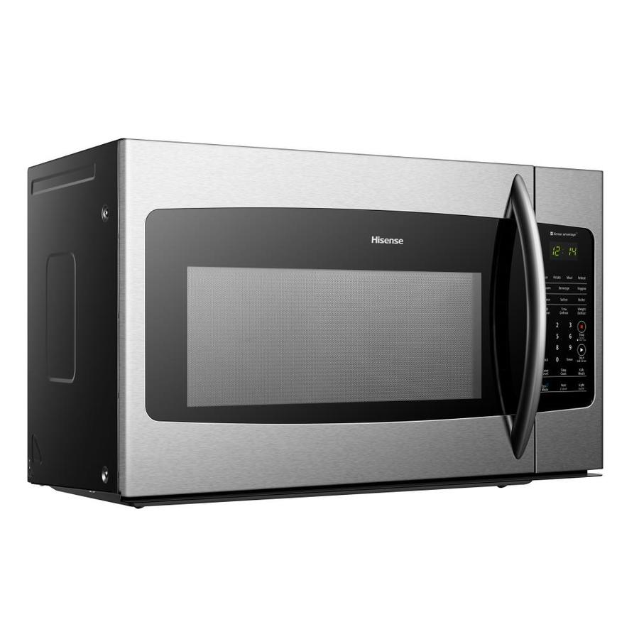 Hisense 1 7 Cu Ft Over The Range Microwave With Sensor Cooking Stainless Steel Front And Black Housing In The Over The Range Microwaves Department At Lowes Com