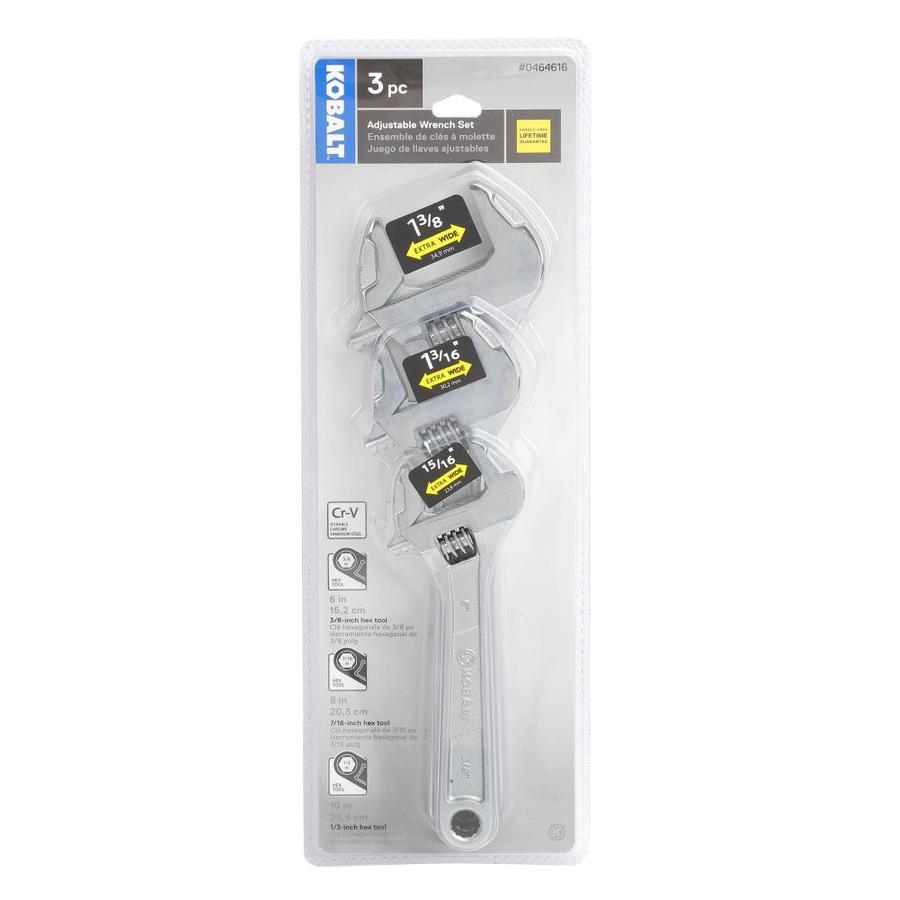 3baa3f47c Adjustable Wrench  Kobalt 3 Piece Adjustable Wrench Set