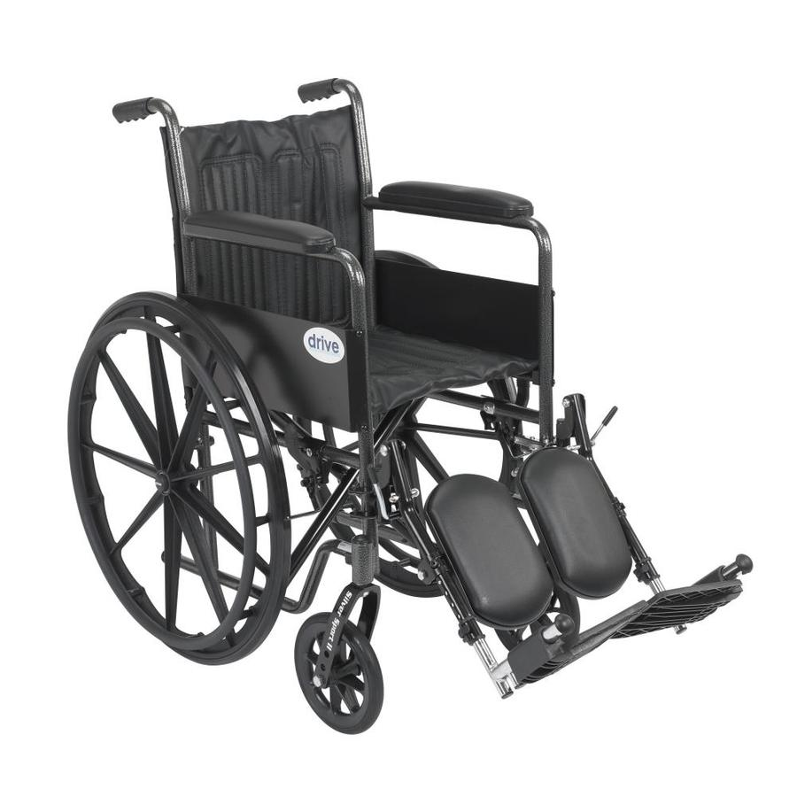 Drive Medical Silver Sport 2 Wheelchair, Non Removable Fixed Arms, Elevating Leg Rests, 18-In Seat Ssp218fa-Elr