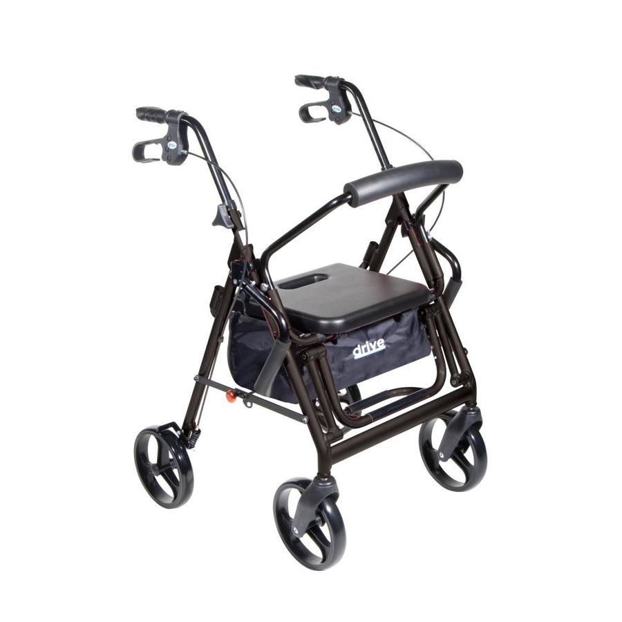 Drive Medical Duet Dual Function Transport Wheelchair Rollator Rolling Walker, Black 795Bk