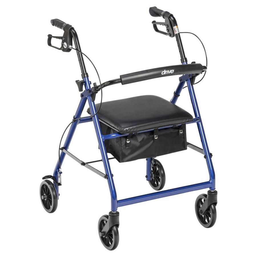Drive Medical Rollator Rolling Walker With 6-In Wheels, Fold Up Removable Back Support And Padded Seat, Blue R726bl