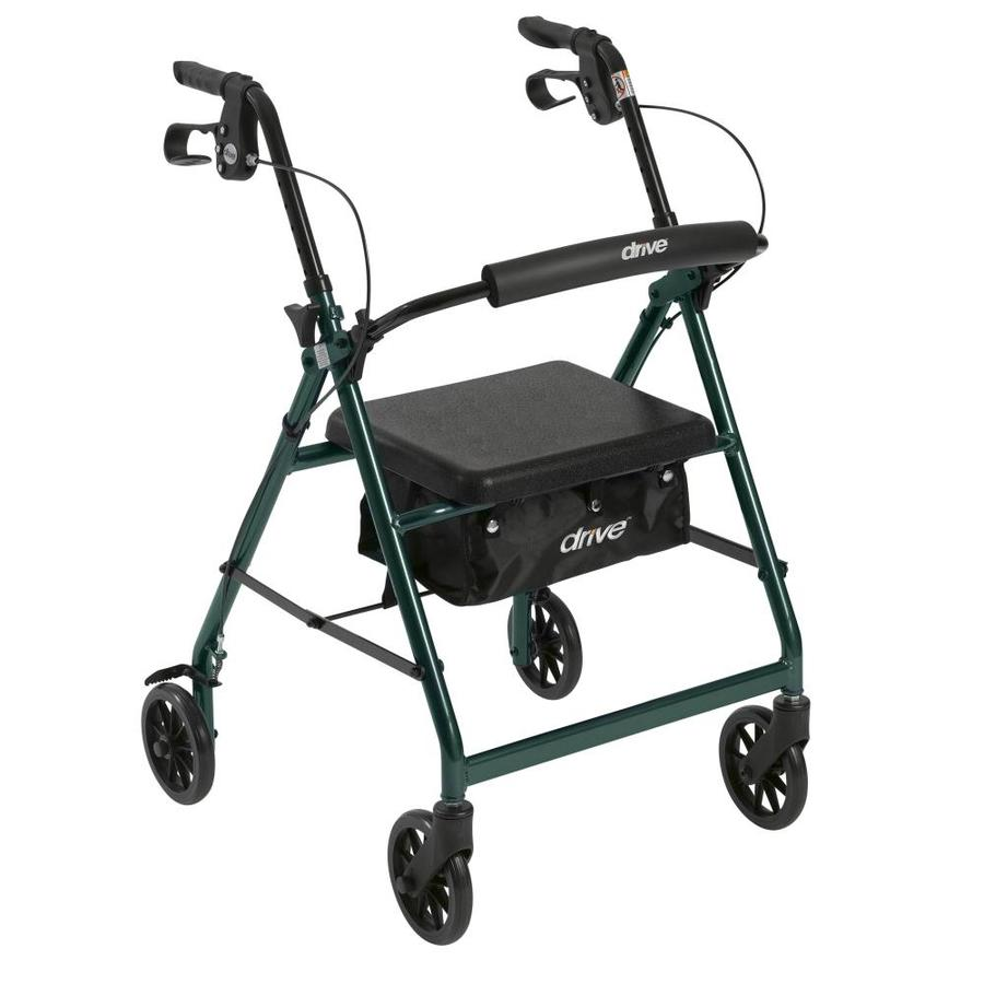 Drive Medical Rollator Rolling Walker With 6-In Wheels, Fold Up Removable Back Support And Padded Seat, Green R726gr