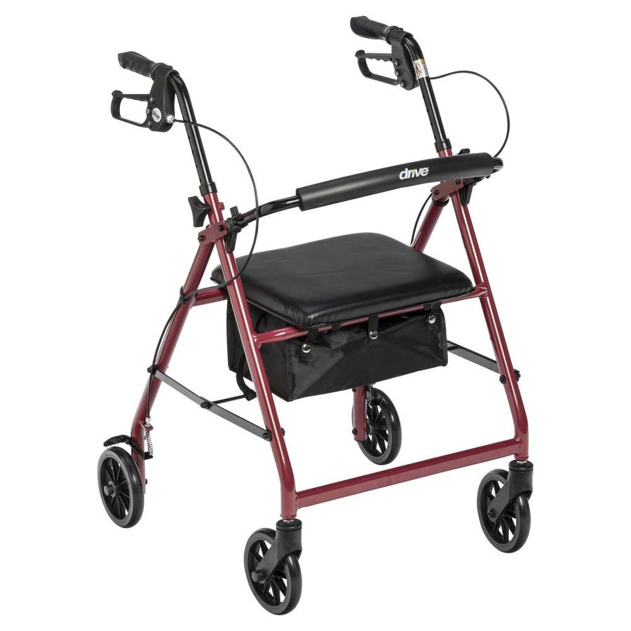 Drive Medical Rollator Rolling Walker With 6-In Wheels, Fold Up Removable Back Support And Padded Seat, Red R726rd