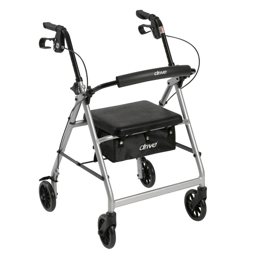Drive Medical Rollator Rolling Walker With 6-In Wheels, Fold Up Removable Back Support And Padded Seat, Silver R726sl