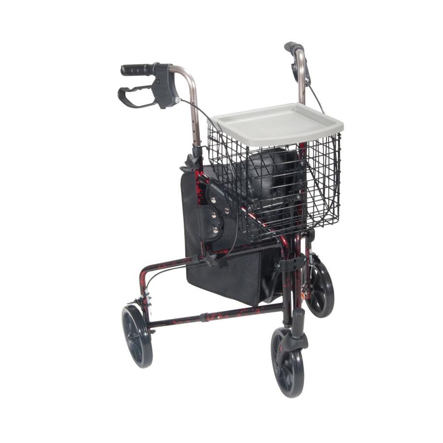 Drive Medical 3 Wheel Rollator Rolling Walker With Basket Tray And Pouch, Flame Red 10289Rd