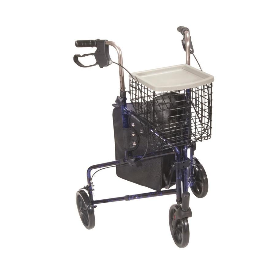 Drive Medical 3 Wheel Rollator Rolling Walker With Basket Tray And Pouch, Flame Blue 10289Bl