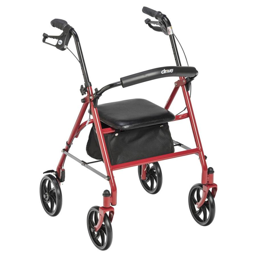 Drive Medical Four Wheel Rollator Rolling Walker With Fold Up Removable Back Support, Red 10257Rd-1