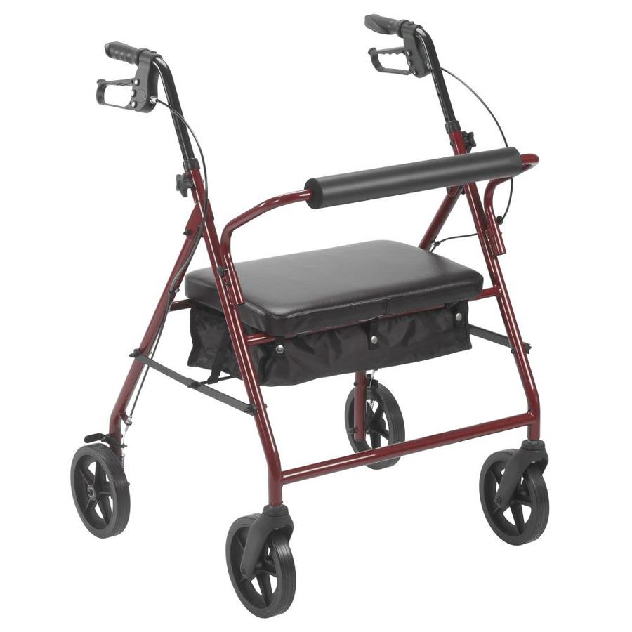 Drive Medical Bariatric Rollator Rolling Walker With 8-In Wheels, Red 10216Rd-1