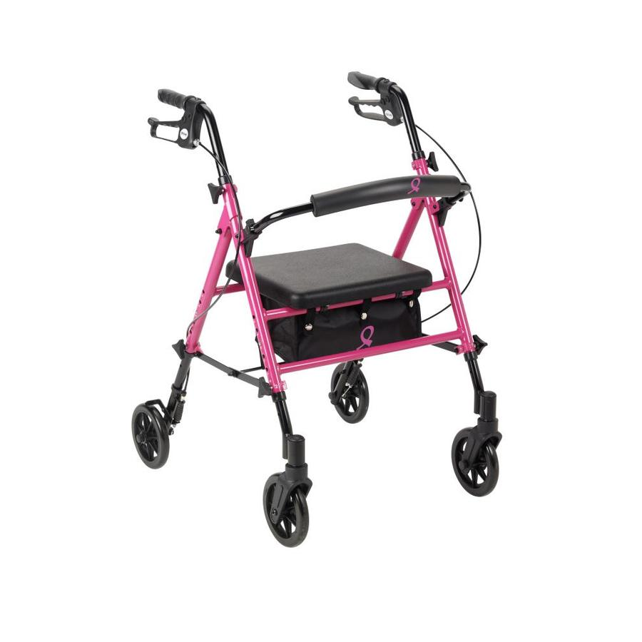 Drive Medical Breast Cancer Awareness Adjustable Height Rollator Rolling Walker, Pink Rtl10261bc