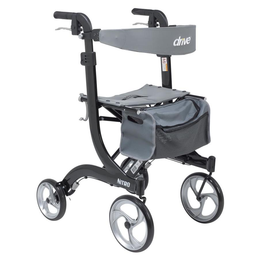 Drive Medical Nitro Euro Style Rollator Rolling Walker, Tall, Black Rtl10266bk-T