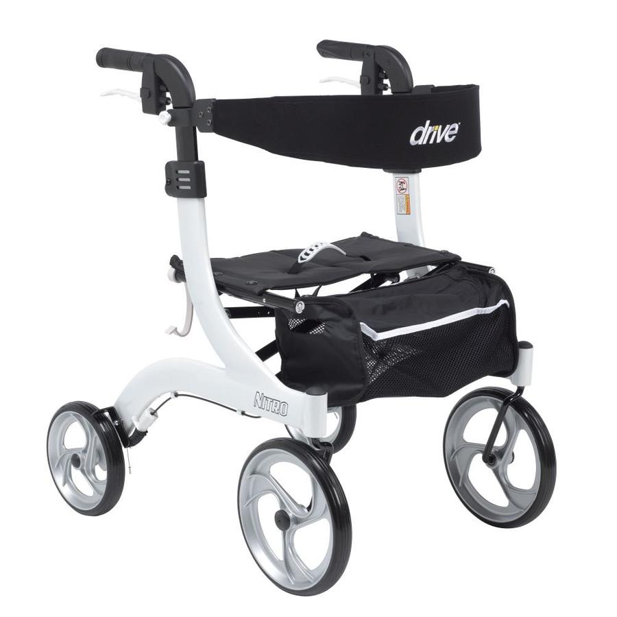 Drive Medical Nitro Euro Style Rollator Rolling Walker, Hemi Height, White Rtl10266wt-H
