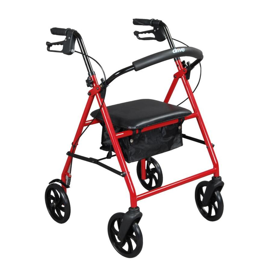 Drive Medical Steel Rollator Rolling Walker With 8-In Wheels, Red R900rd
