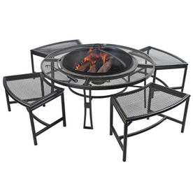 Garden Treasures Steel Fire Pit Set With Table Stools