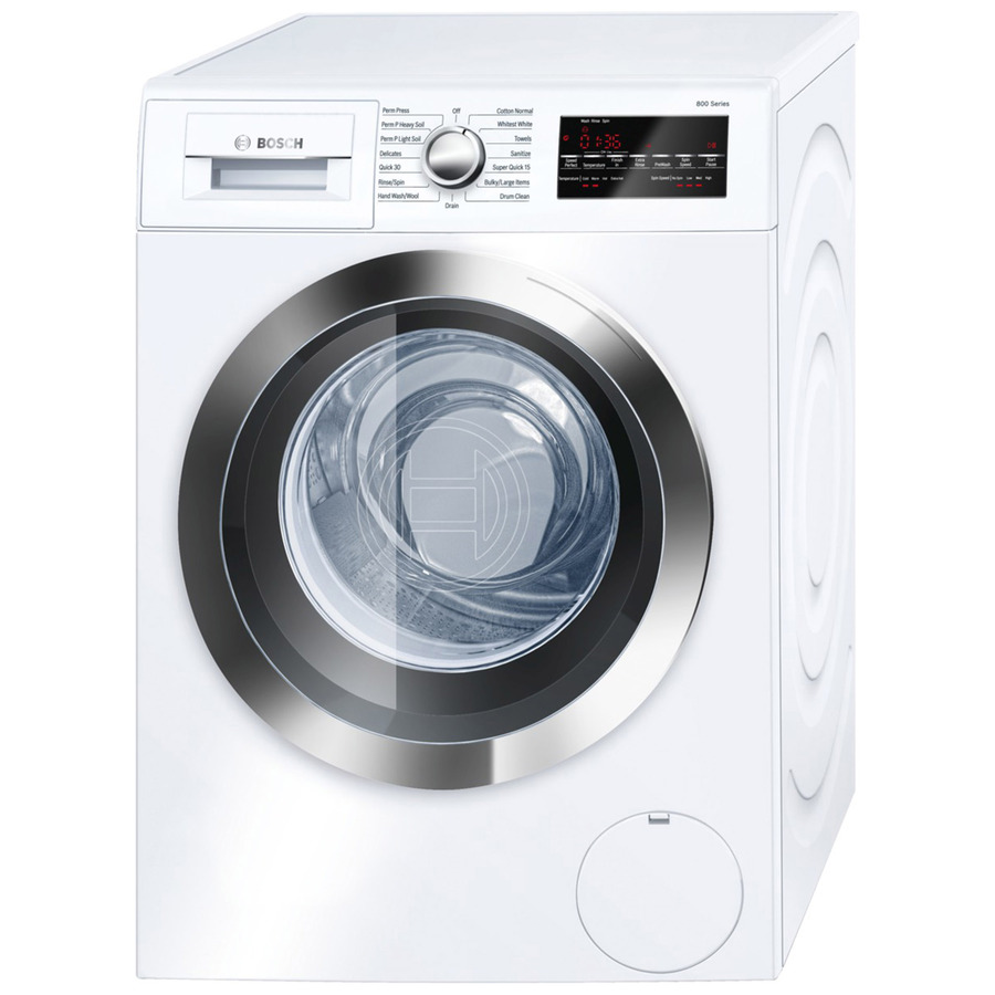 Bosch 800 2.2-cu ft High Efficiency Stackable Front-Load Washer (White/Chrome Trim) ENERGY STAR Stainless Steel | WAT28402UC