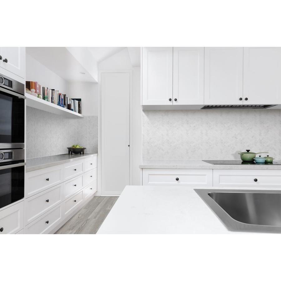 - Satori Bianco Polished 12-in X 12-in Polished Herringbone Marble