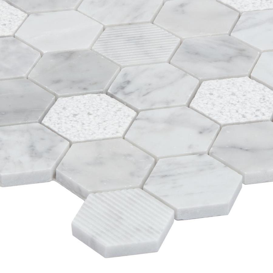 - Satori Carrara 12-in X 12-in Multi-finish Honeycomb Mosaic Wall